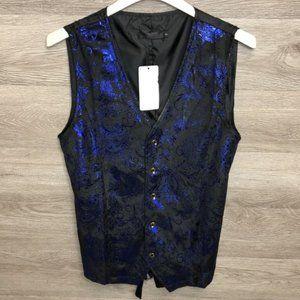 ZeroYaa Mens Small Blue Paisley Suit Vest NEW